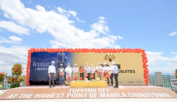 Topping off at the highest point of Manila Chinatown. Anchor Land tops off Anchor Grandsuites. Present during the ceremony are (from left): BLG Principal Benedicto Limjap Gavino; PROMPT Manager Shannen May Malabuyoc; Anchor Land Area Manager Engr. JP Carrillo; Anchor Land Assistant Vice President for Engineering Honorio Alvarez, Jr.; Anchor Land President Elizabeth Ventura; Anchor Land Chief Executive Officer Steve Li; Anchor Land Director Jason Li; Anchor Land Sr. Project Manager Engr. Oscar Develos, Jr.; AYSA Sr. Project Manager Allan Chua; Anchor Land Sr. Project Architect Lindy Go; and Sy 2 Sr. Associate Janice Marquez.