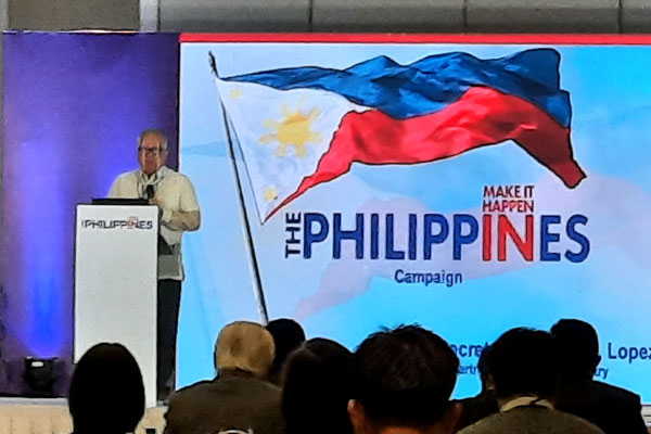 Trade Secretary Ramon Lopez delivers his keynote speech at the launch of the Make It Happen in the Philippines campaign at the Makati Diamond Residences, Makati City on Nov. 24, 2020. It is a unified, country-wide, and multi-sector investment campaign to attract foreign investments in key priority sectors. (PNA photo by Kris Crismundo)