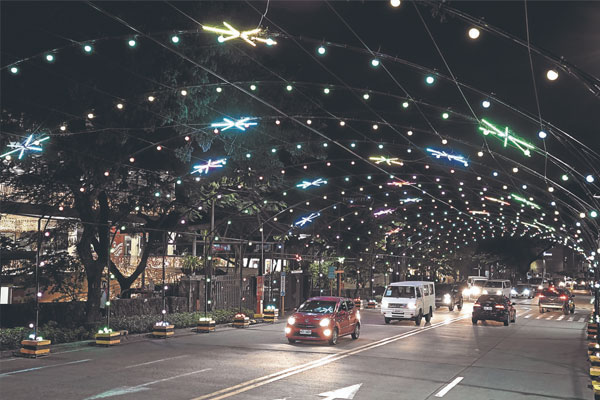 The Christmas Street Musical Light Tunnel features bright and colorful stars, a spectacular view accompanied by the uplifting beats of familiar Christmas jingles.  / Photo Courtesy of Inquirer.net